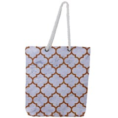 TILE1 WHITE MARBLE & RUSTED METAL (R) Full Print Rope Handle Tote (Large)