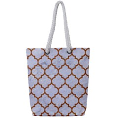 TILE1 WHITE MARBLE & RUSTED METAL (R) Full Print Rope Handle Tote (Small)