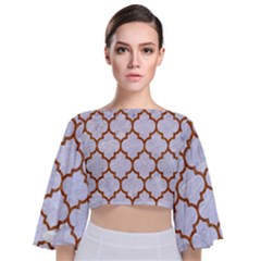 TILE1 WHITE MARBLE & RUSTED METAL (R) Tie Back Butterfly Sleeve Chiffon Top