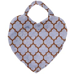 TILE1 WHITE MARBLE & RUSTED METAL (R) Giant Heart Shaped Tote