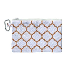 TILE1 WHITE MARBLE & RUSTED METAL (R) Canvas Cosmetic Bag (Medium)