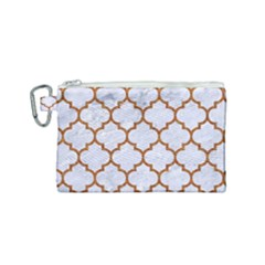 TILE1 WHITE MARBLE & RUSTED METAL (R) Canvas Cosmetic Bag (Small)