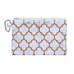 TILE1 WHITE MARBLE & RUSTED METAL (R) Canvas Cosmetic Bag (Large)