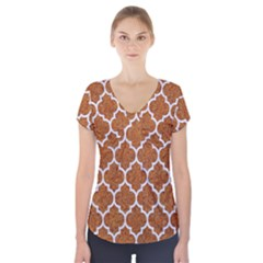 Tile1 White Marble & Rusted Metal Short Sleeve Front Detail Top by trendistuff