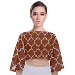 Tile1 White Marble & Rusted Metal Tie Back Butterfly Sleeve Chiffon Top by trendistuff
