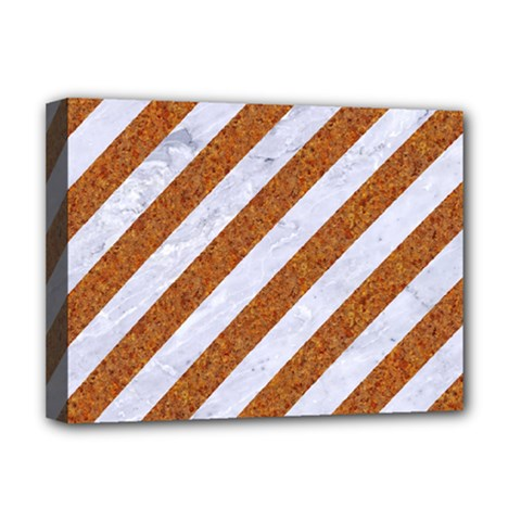 Stripes3 White Marble & Rusted Metal (r) Deluxe Canvas 16  X 12   by trendistuff