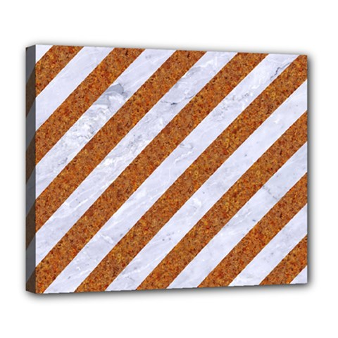 Stripes3 White Marble & Rusted Metal (r) Deluxe Canvas 24  X 20   by trendistuff