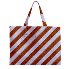 Stripes3 White Marble & Rusted Metal (r) Zipper Mini Tote Bag by trendistuff