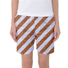 Stripes3 White Marble & Rusted Metal (r) Women s Basketball Shorts by trendistuff