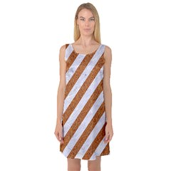 Stripes3 White Marble & Rusted Metal (r) Sleeveless Satin Nightdress by trendistuff