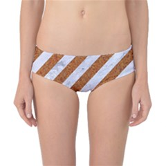 Stripes3 White Marble & Rusted Metal (r) Classic Bikini Bottoms by trendistuff
