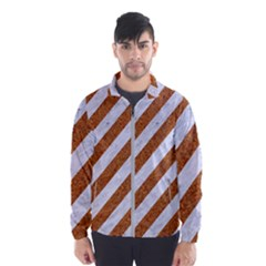 Stripes3 White Marble & Rusted Metal (r) Wind Breaker (men) by trendistuff