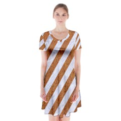 Stripes3 White Marble & Rusted Metal (r) Short Sleeve V Neck Flare Dress