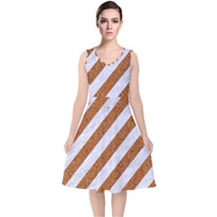 Stripes3 White Marble & Rusted Metal (r) V Neck Midi Sleeveless Dress  by trendistuff