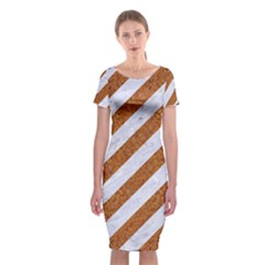Stripes3 White Marble & Rusted Metal (r) Classic Short Sleeve Midi Dress by trendistuff