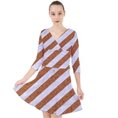 Stripes3 White Marble & Rusted Metal (r) Quarter Sleeve Front Wrap Dress by trendistuff