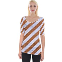 Stripes3 White Marble & Rusted Metal (r) Wide Neckline Tee by trendistuff