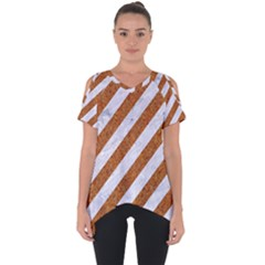 Stripes3 White Marble & Rusted Metal (r) Cut Out Side Drop Tee by trendistuff