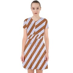 Stripes3 White Marble & Rusted Metal (r) Adorable In Chiffon Dress by trendistuff