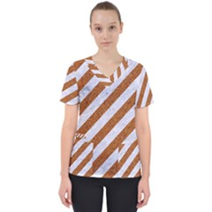Stripes3 White Marble & Rusted Metal (r) Scrub Top by trendistuff