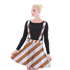 Stripes3 White Marble & Rusted Metal (r) Suspender Skater Skirt by trendistuff
