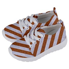 Stripes3 White Marble & Rusted Metal (r) Kids  Lightweight Sports Shoes by trendistuff