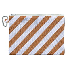 Stripes3 White Marble & Rusted Metal (r) Canvas Cosmetic Bag (xl) by trendistuff