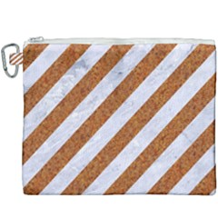 Stripes3 White Marble & Rusted Metal (r) Canvas Cosmetic Bag (xxxl) by trendistuff