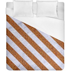 Stripes3 White Marble & Rusted Metal Duvet Cover (california King Size) by trendistuff