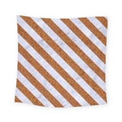 Stripes3 White Marble & Rusted Metal Square Tapestry (small) by trendistuff