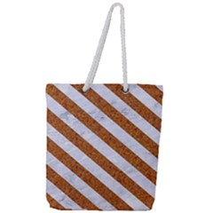 Stripes3 White Marble & Rusted Metal Full Print Rope Handle Tote (large) by trendistuff