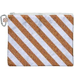 Stripes3 White Marble & Rusted Metal Canvas Cosmetic Bag (xxxl) by trendistuff