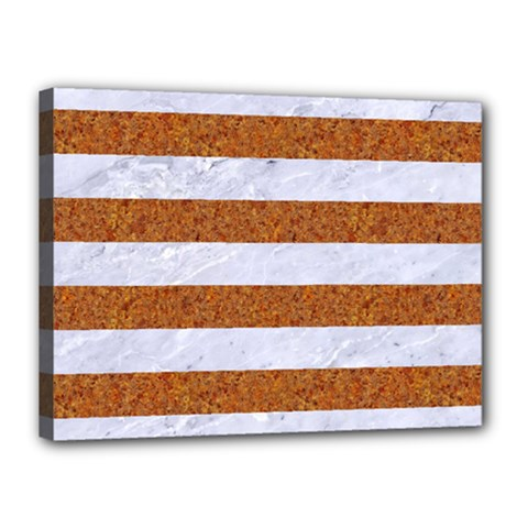 Stripes2white Marble & Rusted Metal Canvas 16  X 12  by trendistuff