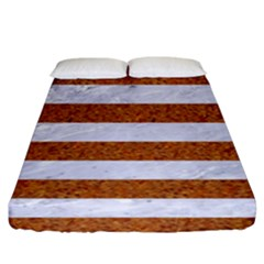 Stripes2white Marble & Rusted Metal Fitted Sheet (king Size) by trendistuff