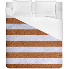 Stripes2white Marble & Rusted Metal Duvet Cover (california King Size) by trendistuff
