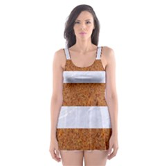 Stripes2white Marble & Rusted Metal Skater Dress Swimsuit