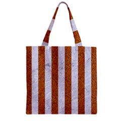Stripes1 White Marble & Rusted Metal Zipper Grocery Tote Bag by trendistuff