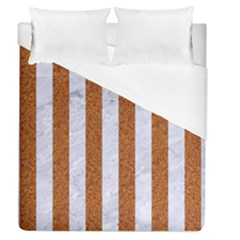 Stripes1 White Marble & Rusted Metal Duvet Cover (queen Size) by trendistuff