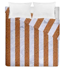 Stripes1 White Marble & Rusted Metal Duvet Cover Double Side (queen Size) by trendistuff