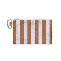 Stripes1 White Marble & Rusted Metal Canvas Cosmetic Bag (small) by trendistuff