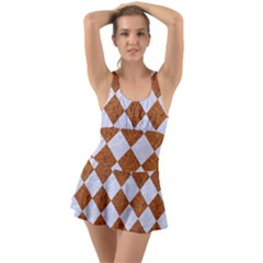 Square2 White Marble & Rusted Metal Swimsuit