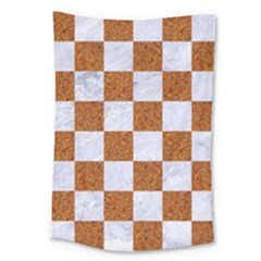Square1 White Marble & Rusted Metal Large Tapestry