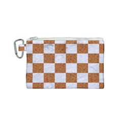 Square1 White Marble & Rusted Metal Canvas Cosmetic Bag (small) by trendistuff