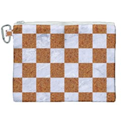Square1 White Marble & Rusted Metal Canvas Cosmetic Bag (xxl) by trendistuff