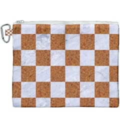 Square1 White Marble & Rusted Metal Canvas Cosmetic Bag (xxxl) by trendistuff