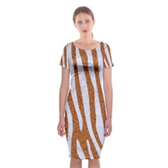 Skin4 White Marble & Rusted Metal (r) Classic Short Sleeve Midi Dress by trendistuff
