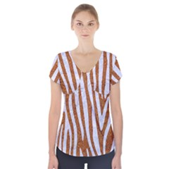Skin4 White Marble & Rusted Metal (r) Short Sleeve Front Detail Top by trendistuff