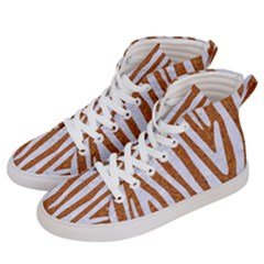 Skin4 White Marble & Rusted Metal (r) Women s Hi Top Skate Sneakers by trendistuff