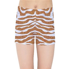 Skin2 White Marble & Rusted Metal Kids Sports Shorts