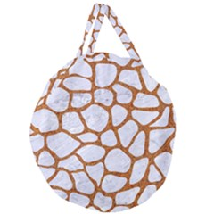 Skin1 White Marble & Rusted Metal Giant Round Zipper Tote by trendistuff